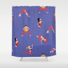 Yoga Girls blue lines Shower Curtain