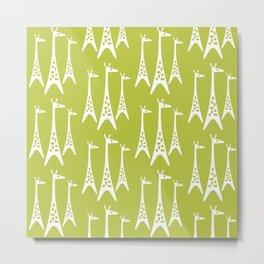 Mid Century Modern Giraffe Pattern 221 Chartreuse Metal Print
