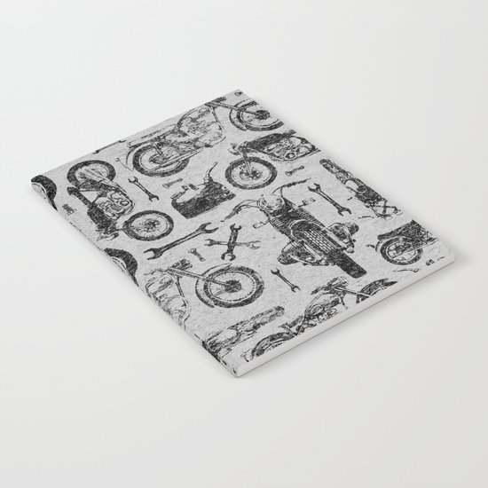 Vintage Motorcycle Pattern Notebook