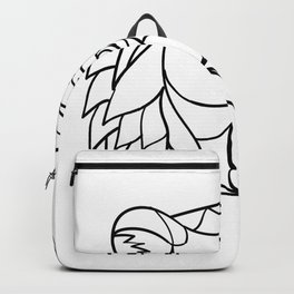 Grizzly Bear Head Mosaic Black and White Backpack