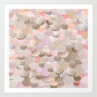 MERMAID SHELLS - CORAL ROSEGOLD Art Print
