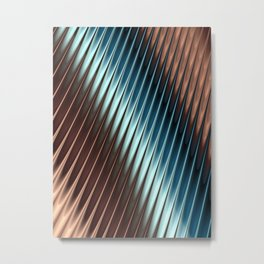 Stripey Pins Teal & Taupe - Fractal Art Metal Print