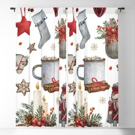 Hand drawn Christmas decoration pattern Blackout Curtain