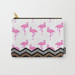 Animal Skin Print Chevron Pattern with Flamingos Carry-All Pouch