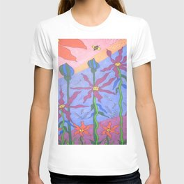 Blue Bohemian Garden Art T-shirt