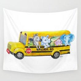Animal SchoolBus Wall Tapestry
