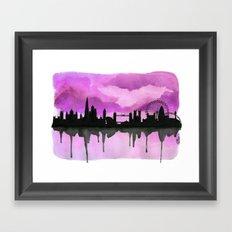 Aubergine London Skyline 2 Framed Art Print