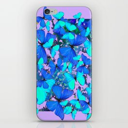 Blue Butterflies Pink Melange Art iPhone Skin