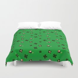 Four Leaf Clovers and Pots of Gold Duvet Cover