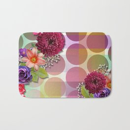 Flowers, Circles, & Colorful Abstract Bath Mat
