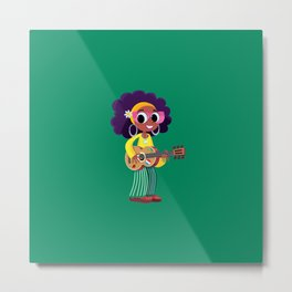 girl plays and sings with a guitar Metal Print