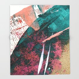 Laughter: a vibrant, colorful, minimal abstract piece in teal, pink, gold, and white Throw Blanket