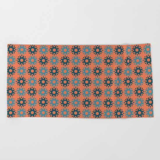 Pattern orange blue Beach Towel