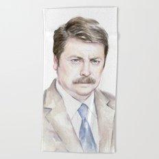 Swanson Watercolor Ron Beach Towel