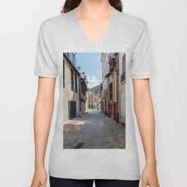 Street in historic centre of Rennes Unisex V-Neck