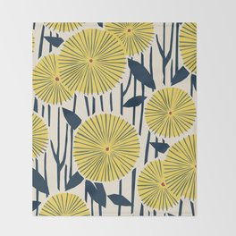 vintage, retro yellow, red and navy flower pattern Throw Blanket