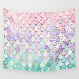Iridescent Mermaid Pastel and Gold Wall Tapestry