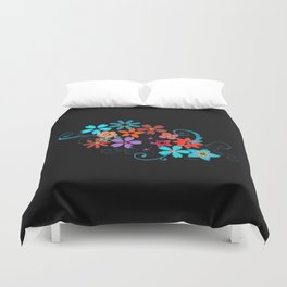 Colorful Flowers on black background Duvet Cover