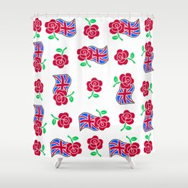 Rose & Union Jack Shower Curtain