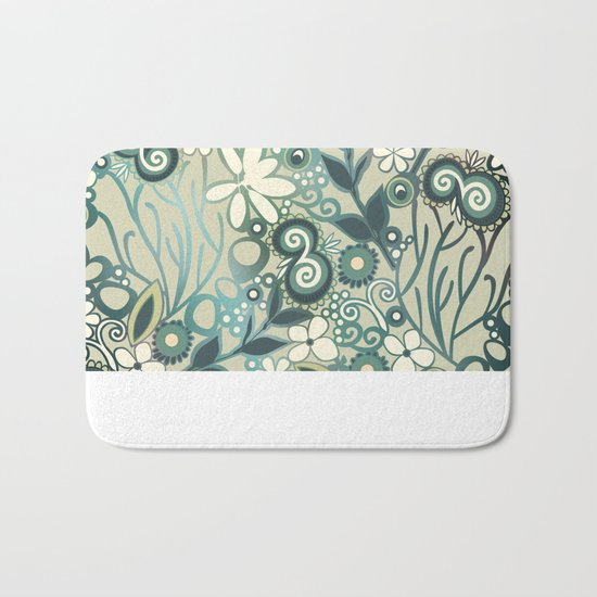Detailed square of green and ocre floral tangle Bath Mat