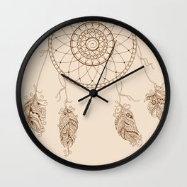 dream catcher with decorated feathers Wall Clock