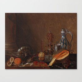 Cornelis Mahu Antwerp 1613-1689 A still life with a gadrooned goblet, a toppled tazza, a stoneware j Canvas Print