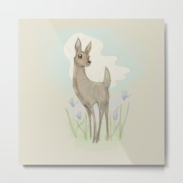 Melancholy Deer in Spring Metal Print