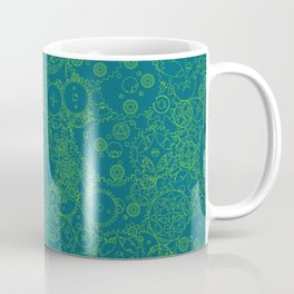 Clockwork Turquoise & Lime / Cogs and clockwork parts lineart pattern Coffee Mug