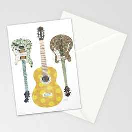 Guitar Collage Illustration Stationery Cards