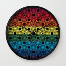 Pride Flag Overlayed with a Flower Doodle Graphic  Design Wall Clock