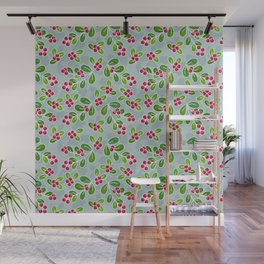 Cranberry Fruit Pattern on Blue-Grey Wall Mural