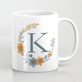 Monogram K Orange Autumn Floral Wreath Coffee Mug