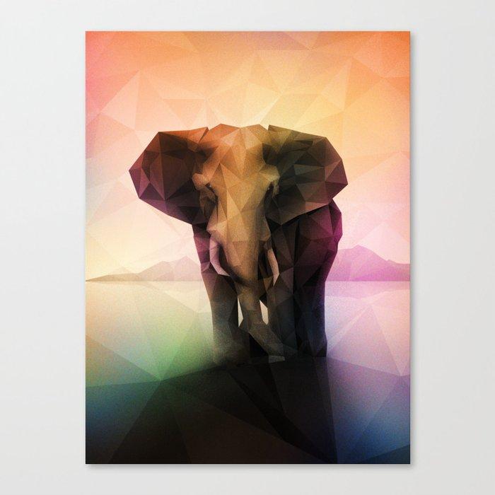 Elephant (Low Poly Multi) Canvas Print
