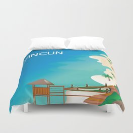 Cancun, Mexico - Skyline Illustration by Loose Petals Duvet Cover