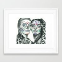 lindsay lohan Framed Art Prints featuring Meryl Streep and Lindsay Lohan  by Jimmy Lee