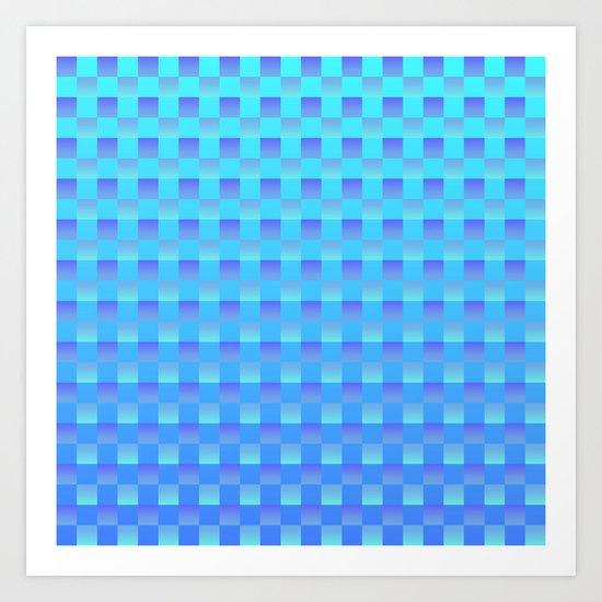Blue Ombré Grid Art Print