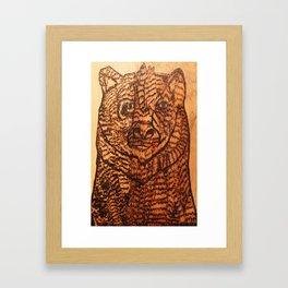 Bear pyrography Framed Art Print
