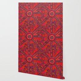 Pink Wildflower Sunshine I // 18th Century Colorful Pinkish Red Blue Sapphire Metallic Happy Pattern Wallpaper