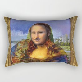 Mona (Kevin) Lisa : Satire + Contemporary Fine Art Rectangular Pillow