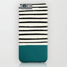 Dark Turquoise & Stripes Slim Case iPhone 6s