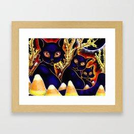 Three Halloween Cats Framed Art Print