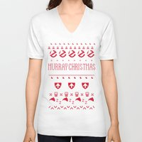 murray V-neck T-shirts featuring Murray Christmas Sweater by Derek Eads