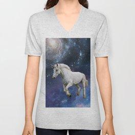Unicorn and Space Unisex V-Neck