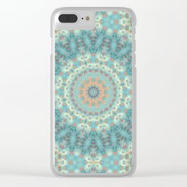 Mandala . Turquoise green . Clear iPhone Case