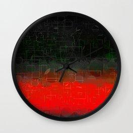 Dark Red Black Emerald  Multi-Pattern Overlay Design Wall Clock