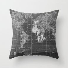 Black and White Vintage World Map Throw Pillow