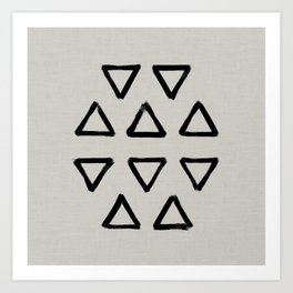 Black ink brushed triangles pattern with textured neutral background Art Print