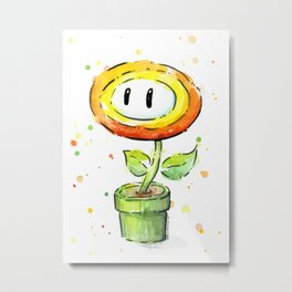 Fire Flower Watercolor Painting Mario Game Geek Art Metal Print