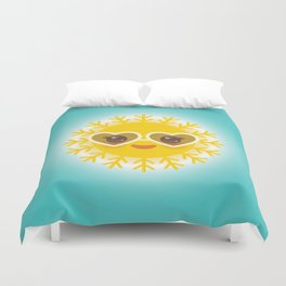 Kawaii funny sun with sunglasses pink cheeks and eyes. Hot summer day Duvet Cover
