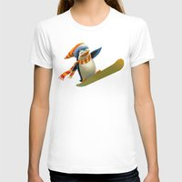 snowboard T-shirts featuring Funny Mr. Penguin riding snowboard by pakowacz